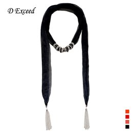 Wholesale Scarfs For Cheap - Cheap Chiffon Scarfs for Women Fashion Plain Scarves Necklaces with Alloy CCB Bead Charms Silver Tassel Scarf Ladies Designer SC150343