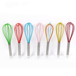 Wholesale Silicone Mixer - 10 Inch Egg Beater Household Stainless Steel Round Handle Eggs Mixer Handheld Manual Hanging Kitchen Tools 2 21cx B R