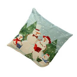Wholesale Blue Christmas Wreaths - Wholesale-Vintage Christmas Santa Claus Deer Snowman wreaths Printed Bed Home Pillow Case Free Shipping