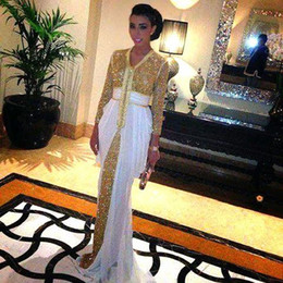 Wholesale Dubai Women Clothing - Arabic Dubai Kaftan Evening Dresses Arabian Turkish Women Formal Clothing Party Prom Dresses Sequins Abaya dounia batma caftan Custom Made
