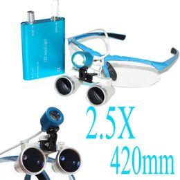 Wholesale Dental Optical Binocular Loupes - High Quality Hotsale 2.5X 420mm! Blue color Dental Medical Binocular Loupes Optical Glass Loupe+LED Head Light Lamp Free shipping