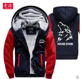 Wholesale Game Thrones 4xl - Game Of Thrones Wolf House Stark A Song of Ice and Fire Hoodie Fleece Thick Warm Sweatshirt Cosplay Costume Coat