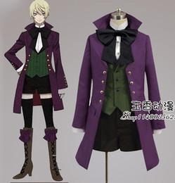 Wholesale Men S Formal Coats - Black Butler Alois Trancy cosplay costume purple coat+shirt+vest+bowknot+pants full suit formal party cloth halloween costume