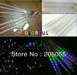 Wholesale Meteor Tubes Leds - Wholesale-New version! 30cm 8 tubes(18 Leds tube) 144leds String LED Meteor Rain shower Light bulb christmas tree decoration lamp-COLORFUL