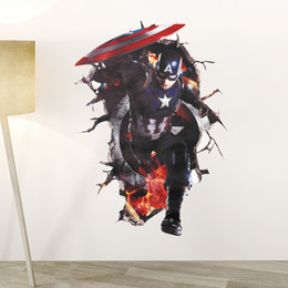Wholesale America Wallpapers - Captain America 3D wall sticker Decals Broken Wall Mural Wallpaper Superhero Wall Decals for Kids Room Decoration