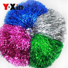 Wholesale Met Ball - 20G 40G 80G Cheerleading Flower Ball Straight Shank Plastic Wire Cheer Stage Performance Cheerleaders Ball Sports Meet Game Cheering Pom Pom