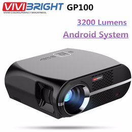 Wholesale Projector Full Hd Wifi - Wholesale- VIVIBRIGHT GP100 Android Projector Full HD 3200 Lumen 1080P WIFI Bluetooth LED LCD Home Theater Cinema Video Projector Proyector