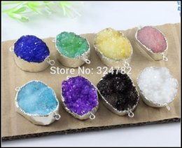 Wholesale drusy connectors - 8pcs Silver Plated Nature Druzy Crystal stone Connector, Quartz Drusy gem stone Connector, Druzy Pendant Beads Jewelry Findings