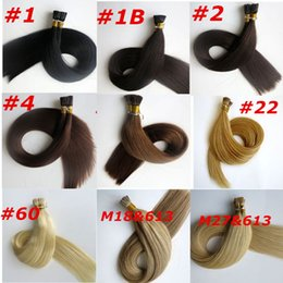 Wholesale Medium Tips - Pre bonded I Tip brazilian human Hair Extensions 100g 100Strands 18 20 22 24inch Straight Indian hair products more colors
