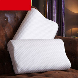 Wholesale Hotel Health - Wholesale- High Quality Cotton Slow Rebound Therapy Neck Head Health Care Memory Foam Pillow Massager Pillow Adults Hotel Bed Neck Pillow