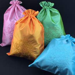 Wholesale Printed Hair Extensions - Large Ethnic Embroidery Dragon Drawstring Shoe Dust Bags for Travel Storage Reusable Chinese style Satin Cloth Hair Extension Packing Pouch