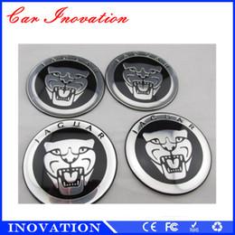 Wholesale Car Wheel Tape - 65mm Jaguar Chrome Car Logo Alumium Steering Wheel Badge Metal Car Sticker 3M Tape Car Wheel Sticker