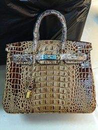 Wholesale Genuine Crocodile Handbag Man - Wholesale-BK 30-35cm 3D Crocodile bone pattern women handbag famous brands Alligator leather handbags women bag genuine leather bags