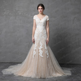 Wholesale Satin Skirts Short - Short Sleeve V Neckline Mermaid Wedding Dress Champagne with Floral Lace Illusion Back 2018 Real Photo