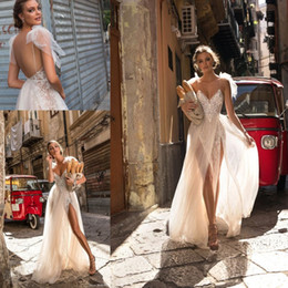 Wholesale Floor Double - 2018 Berta Lace Applique Beach Holiday Wedding Dresses Spaghetti Backless Double Split Elegant Bohemian Garden Cheap Bridal Dress