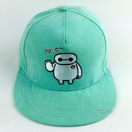 c461d595232 Hello White Baseball Cap Super Marines Bighero 6 Baymax Snapback Hat Lovers  Cap Flat Brimmed Hat