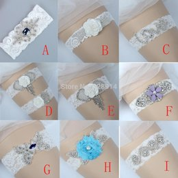 Wholesale Rhinestone Garter Belt - Wholesale-Luxury Crystal Applique Lace Wedding Garter Belt Bridal Leg Garter Belt Handmade WIth Navy Blue Rhinestones HY022