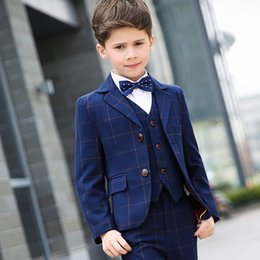 Wholesale Boys Navy Suit Jacket - 2017 boy suit flower girl Slim brand fashion groom dress wedding blue suit jacket