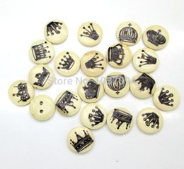 Wholesale Sewing Buttons Crown - Diy Handmade 100pcs 2 Holes 15mm Mixed Multiple Crown Series Natural Wooden Buttons Sewing Accessories Scrapbooking Wood Crafts