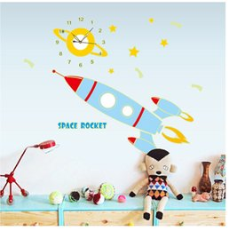 Wholesale Character Wall Clocks - Glow In the Dark Space Rocket with Clock Wall Stickers Decal Creative Luminous DIY Wall Art Murals Decor Fluorescent wall Clock sticker