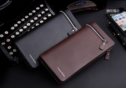 Wholesale Wholesale Long Mens Wallets - Top Quality Mens Genuine Leather Business Clutch Long Wallet Credit Card Holder Luxury Purse For Men