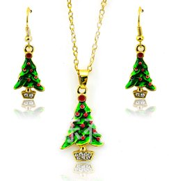 Wholesale Indian Fashion Set Low Price - Wholesale Jewelry Sets lowest price Christmas gift Fashion 2015 Oil Drip Necklace Earrings set Christmas Trees hot fashion Jewelry Cheap 50