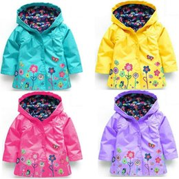 Wholesale Raincoats For Babies - Girls flower Raincoat 9 colors Kids Fashion Clothes Winter baby Hooded Tench coats Jacket for Windproof Outwear C3169