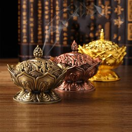 Wholesale Ceramic Burner Wholesale - Alloy Incense Burner 7*7CM Lotus Censer Buddhist Supplies For Multi Colors Thurible Arts And Crafts Decorate Creative Gifts 7 5bg C R