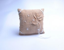 Wholesale Brown Pearl Rings - Square Pearl Rhinestone Lace Linen With Clover Bridal Ring Bearer Pillow Beaded Wedding Ceremony Favors Box