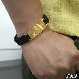 Wholesale Sports Magnetic Rubber Bracelets - Wholesale-TB90D008 Super man BALANCE Titanium casual luxulry power band gold health Rubber magnetic sports Custom charm Bracelets