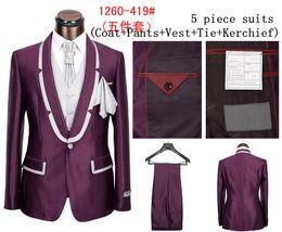 Wholesale Coat Tie Casual - Wholesale-Free Shipping Branded Men's Business suits and Formal & Casual Dress Suits for Men,Coat +pants+Vest+tie+kerchief