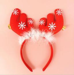 fleece-ohrbänder Rabatt Weihnachtsgeweihohren mit Glockenhauptbügelspange-Haarbandkopf-Bandkursteilnehmer Weihnachtsgeschenk-Haar-Banddekorationen geben Verschiffen CH01003 frei