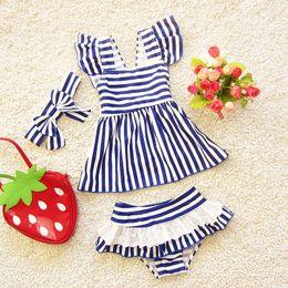 Wholesale Swimwear Three - 2017 Children Swimwear Suits Baby Girl Stripe Navy Style Bathsuits Kids Swim Three Piece Sets