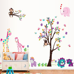 Wholesale Owls Decal - Monkey on Colorful Tree Branch Wall Art Mural Decal Decor Monkey Owls Giraffe Elephant Birds Butterfly Natural View Forest Paradise Wall Art