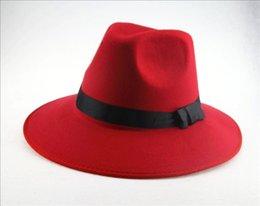 Wholesale Cowboy Hats Ribbon - Wholesale-Vintage Women Wide Brim Ribbon Fedora Hat New Cappelli Fashion Warm Wool Caps Blend Felt Hat Bowler Trilby Fedora Cap Cowboy Hat