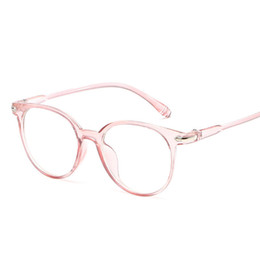 Wholesale Korean Eyeglasses - Korean Fashion Clear Glasses Frame Anti Blue Light Glasses Women Fake Glasses Pink Optical Eyeglasses Frame Transparent Oculos