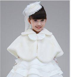 Wholesale Shawls Dress 2pcs - 2PCS 2015 Children dress accessories princess Fur Boleros Flower shawls Children's Poncho girl cape kid clothing 2 colors pink free shipping
