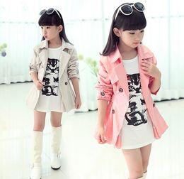 Wholesale Pink Lolita Coat - Big Girls Turn Down Collar Double-breasted Belt Tench Coat Children Clothing Kids Wind Coat Kid Jacket Outwear Clothes Beige Pink K4683