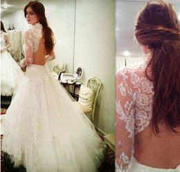 Wholesale Long Sleeved Mermaid Wedding Dresses - 2017 Garden Open Back Wedding Dresses High Neck Tulle Appliques Lace Bridal Gowns Long Sleeved Robe De Mariee Courte