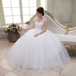 Wholesale Gowns Wedding Apparel - Wedding Bride Long Dress Ball Gown Dress With Crystals V-neck Gauze Hemline Banquet Party Apparel wye308