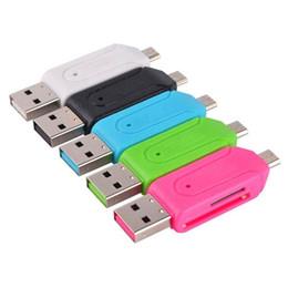 Leitor de celulares on-line-Leitores de cartão sd + micro sd universal micro usb otg leitor de cartão tf micro usb otg adaptador para samsung s4 s5 s6 android celular