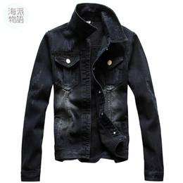 Wholesale Jacket Big Lapels - Shanghai Story vintage Jacket Autumn Men Full Sleeve Denim Black Wash Jean Jacket Maxi Size S-4XL Car-styling Men's denim jacket big size