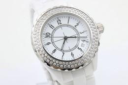 Novos tops para senhoras on-line-NOVA 38mm grandes relógios de qualidade superior wristwtches movimento de quartzo das mulheres relógio de cerâmica branco diamante moldura fashion ladies watch
