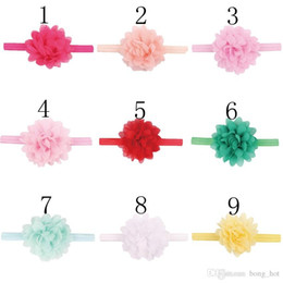 Wholesale Thin Toddler Headbands - Baby Headbands Mini Chiffon Flower Headbands Thin Elastic Bands Toddler Girls Headbands Newborn Headbands Hair Band