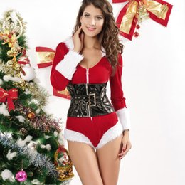 Wholesale Lady Santa Outfits - Sexy Ladies Christmas Fancy Dress Costume Mrs Claus Santa Outfit Santa Costumes For Women