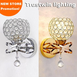 Wholesale Golden Crystal Wall Lamp - Ball round globe crystal wall light living corridor silver golden stair crystal wall sconce bedroom bedside crystal wall lamp