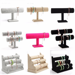 Wholesale Display Watch Holder Acrylic - Velvet Bracelet Display Sackcloth Acrylic Leather Jewelry Display Stand Organizer Black Watch Holder