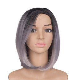 Wholesale Blonde Black Mix Cosplay Wigs - Mtmei Hair Short Straight Granny Gray Synthetic Bob Wigs Costume Cosplay Salon Party Hairpiece Heat Resistant Fiber with Flat Bangs
