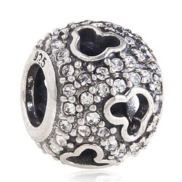 Wholesale Crystal Pave Beads For Pandora - Authentic sterling silver Fits pandora charms bracelet 925 original european charm mickey paved crystal beads for women