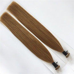 "Wholesale Double Drawn 1g Hair Extensions - Grade 10A--Double Drawn 100% Human Brazilian Hair I tip in hair extensions 14''- 26"" Keratin Stick tip hair with 0.8g s&200s Lot Brown Color"